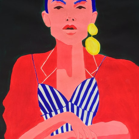 (CreativeWork) The Girl In Stripes  by Mya Atkins. Print. Shop online at Bluethumb.