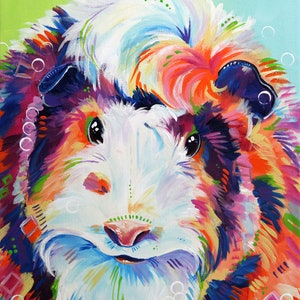 (CreativeWork) Abyssinian Guinea Pig by Eve Izzett. arcylic-painting. Shop online at Bluethumb.