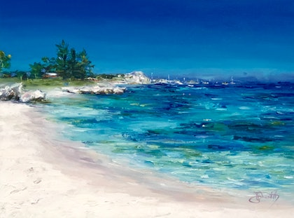 (CreativeWork) Rottnest Basin by Jo Meredith. oil-painting. Shop online at Bluethumb.