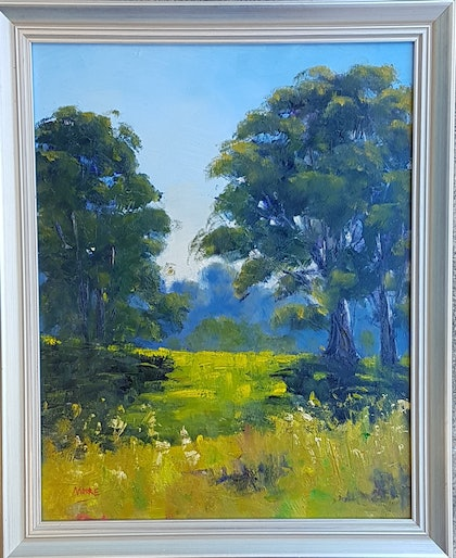 (CreativeWork) Eumundi Gums In Morning Light by Rod Moore. oil-painting. Shop online at Bluethumb.