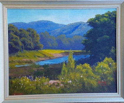 (CreativeWork) Mary River Near Kenilworth by Rod Moore. oil-painting. Shop online at Bluethumb.
