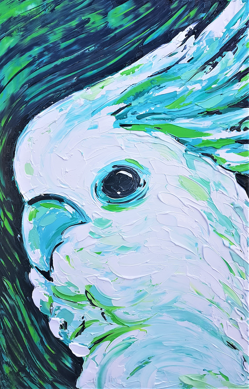 (CreativeWork) Aqua Green Cockatoo  by Lisa Fahey. arcylic-painting. Shop online at Bluethumb.