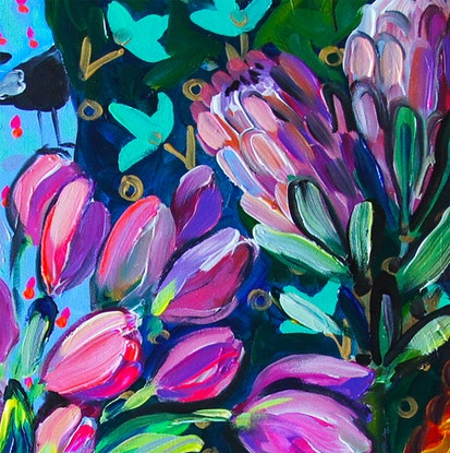 (CreativeWork) Tulips and the Doll by Katerina Apale. Acrylic Paint. Shop online at Bluethumb.