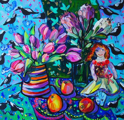 (CreativeWork) Tulips and the Doll by Katerina Apale. #<Filter:0x00007fc1a911bc10>. Shop online at Bluethumb.