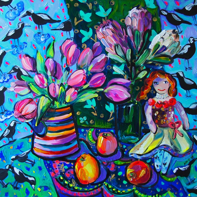 (CreativeWork) Tulips and the Doll by Katerina Apale. arcylic-painting. Shop online at Bluethumb.