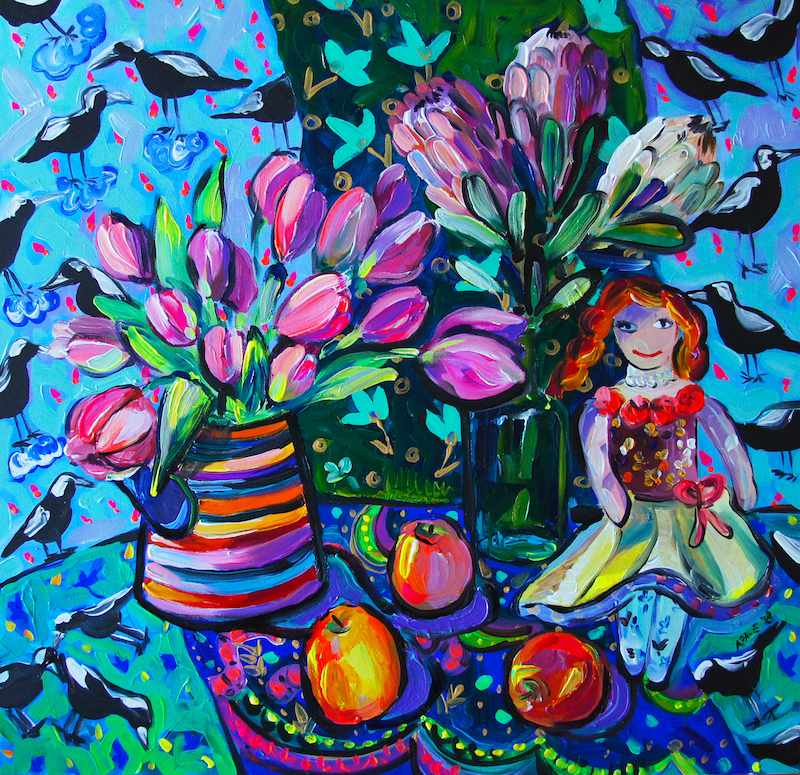 (CreativeWork) Tulips and the Doll by Katerina Apale. acrylic-painting. Shop online at Bluethumb.