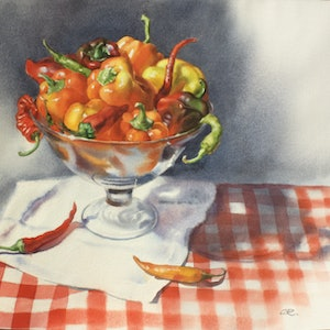 (CreativeWork) Peppers by Olga Read. watercolour. Shop online at Bluethumb.