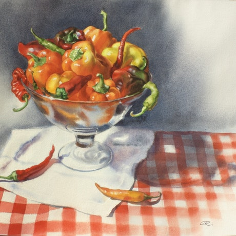 (CreativeWork) Peppers by Olga Read. Watercolour Paint. Shop online at Bluethumb.