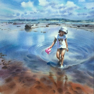 (CreativeWork) Summer fun by Olga Read. watercolour. Shop online at Bluethumb.