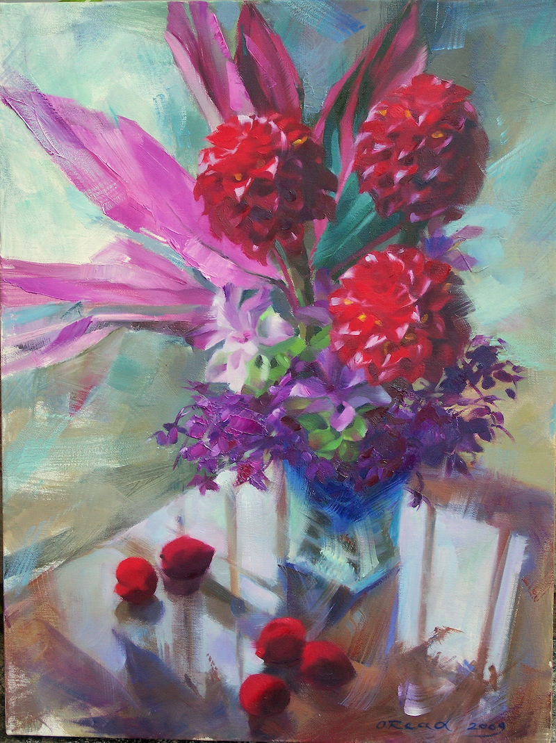 (CreativeWork) Still life with ginger flowers by Olga Read. oil-painting. Shop online at Bluethumb.