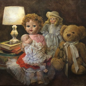 (CreativeWork) Bed time story by Olga Read. oil-painting. Shop online at Bluethumb.