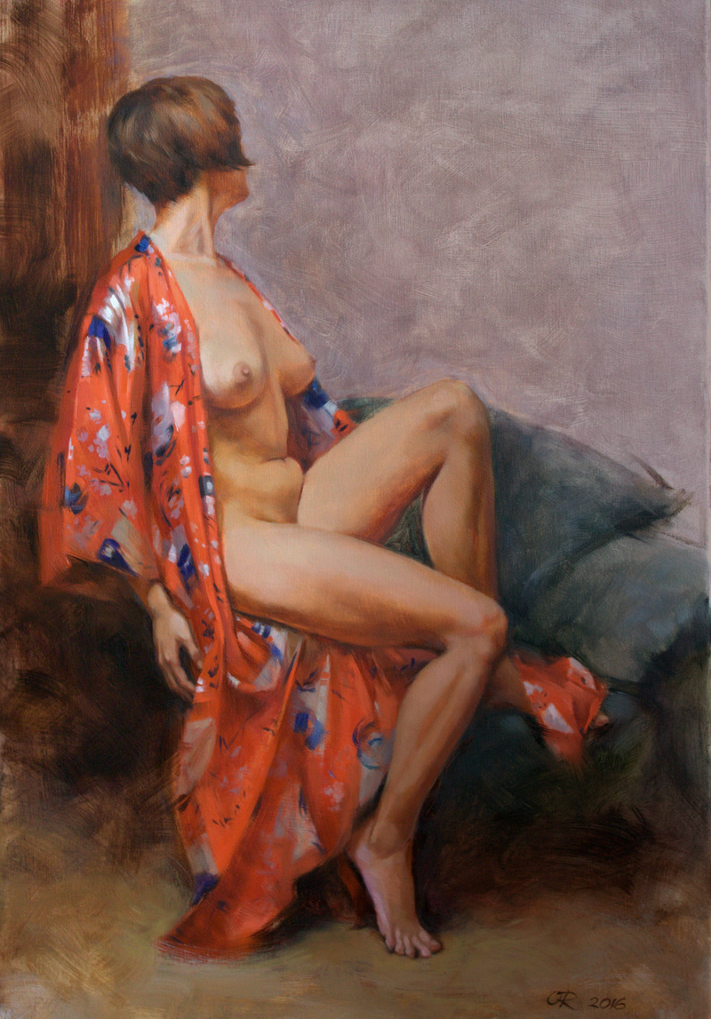 (CreativeWork) Silk robe by Olga Read. oil-painting. Shop online at Bluethumb.