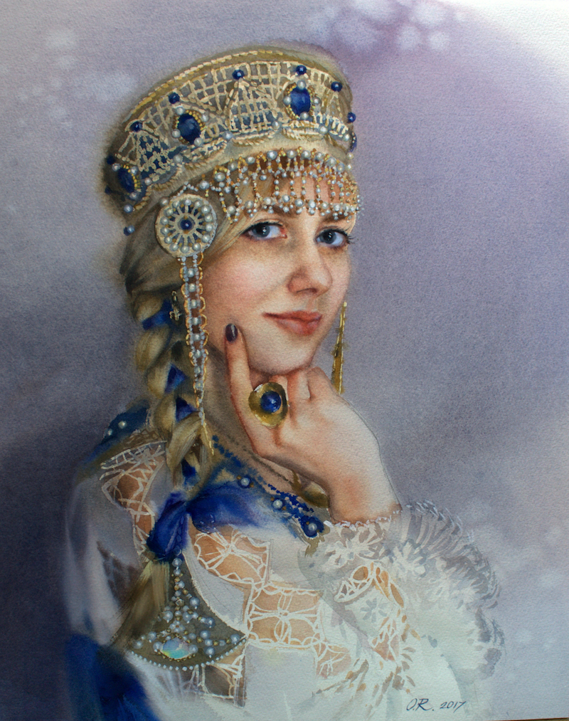 (CreativeWork) Russian beauty by Olga Read. watercolour. Shop online at Bluethumb.