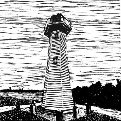 (CreativeWork) Cleveland Lighthouse Linocut  Fine Art  Reproduction - certificate of authenticity  Ed. 2 of 50 by Natasha Scott. print. Shop online at Bluethumb.