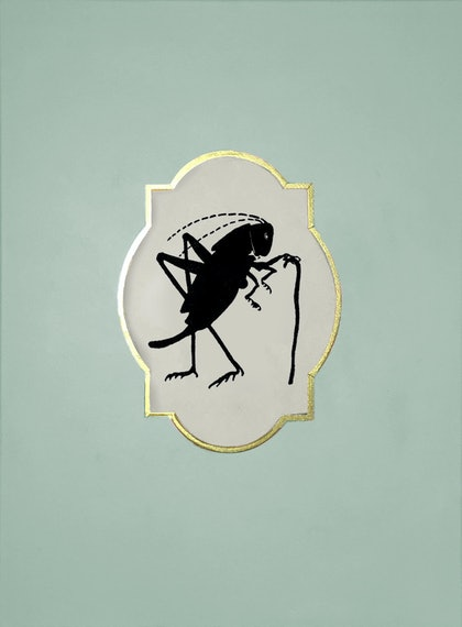 (CreativeWork) Portrait of a  Grasshopper named Gary O'Dowd by Donna Christie. arcylic-painting. Shop online at Bluethumb.