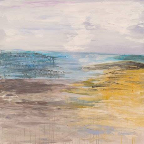 (CreativeWork) Pier After the Storm by Celeste Muskas. Acrylic Paint. Shop online at Bluethumb.