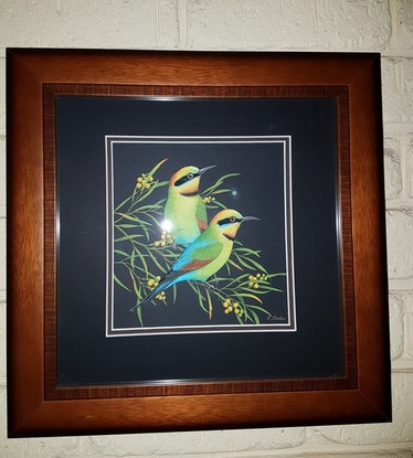 (CreativeWork) Rainbow Bee-eaters by Lyn Cooke. Watercolour Paint. Shop online at Bluethumb.