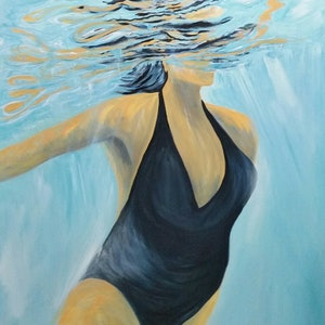 (CreativeWork) Swimmer in Blue   Swim series  Light & Liquid  by Liza Black. arcylic-painting. Shop online at Bluethumb.