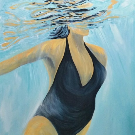 (CreativeWork) Swimmer in Blue   Swim series  Light & Liquid  by LIZA Black. Acrylic Paint. Shop online at Bluethumb.