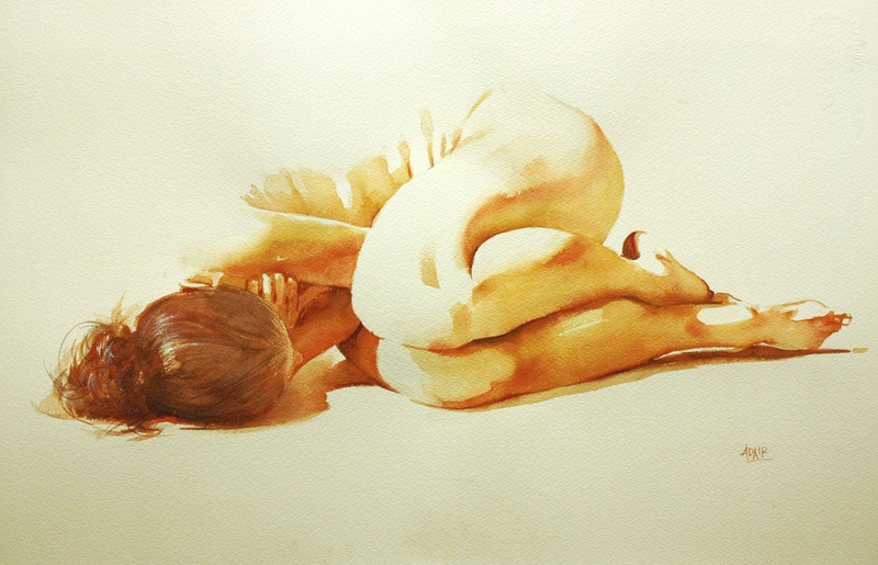 """(CreativeWork) """"Hugging the Light"""" by Pauline Adair. watercolour. Shop online at Bluethumb."""