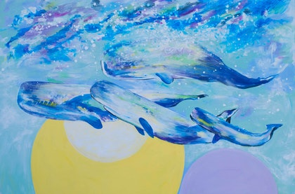 (CreativeWork) Circle of Life the migration of whales by John Giese. arcylic-painting. Shop online at Bluethumb.