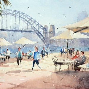 (CreativeWork) Lunch at Circular Quay by Chrysovalantou Mavroudis. watercolour. Shop online at Bluethumb.