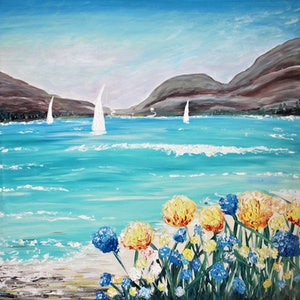 (CreativeWork) If you go down to the beach today by Wendy Hocking. arcylic-painting. Shop online at Bluethumb.