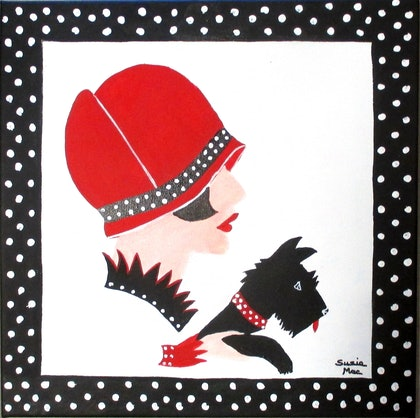 (CreativeWork) Black Dottie  Scotty by Susie Mac. arcylic-painting. Shop online at Bluethumb.