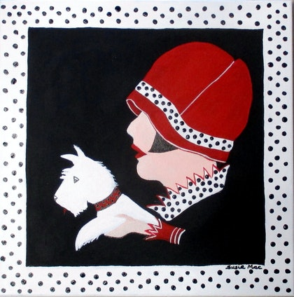 (CreativeWork) White Dotty Scottie by Susie Mac. arcylic-painting. Shop online at Bluethumb.