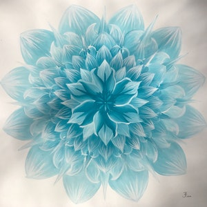 (CreativeWork) Turquoise Lotus  by Jessica Towers. watercolour. Shop online at Bluethumb.