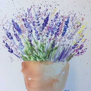 (CreativeWork) Little pot of Lavender  by Ruth Bye. watercolour. Shop online at Bluethumb.