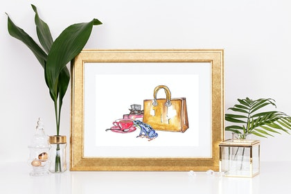 (CreativeWork) Blue Tree Frog loves Coffee and Fashion   Ed. 1 of 1 by BaleaRaitz Lorena. print. Shop online at Bluethumb.