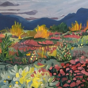 (CreativeWork) Desert Bloom by Adam Mennella. oil-painting. Shop online at Bluethumb.
