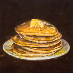 (CreativeWork) Stack 'em (food still life series) by Michelle Angelique. oil-painting. Shop online at Bluethumb.
