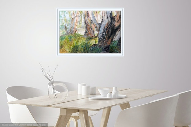 (CreativeWork) Evening Glow through the Paperbark Trees - Cooktown, Qld, Aus. by Anne Huth. Mixed Media. Shop online at Bluethumb.
