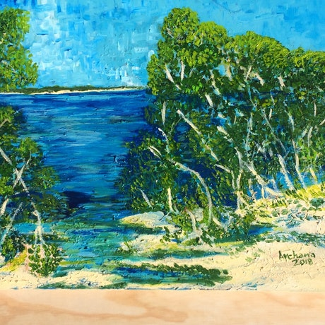 (CreativeWork) Nudgee Beach north Brisbane  by Archana Sinh. Acrylic Paint. Shop online at Bluethumb.