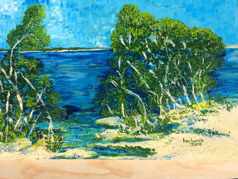 (CreativeWork) Nudgee Beach north Brisbane  by Archana Sinh. arcylic-painting. Shop online at Bluethumb.