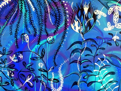 (CreativeWork) Sea garden by Jess Anderson. arcylic-painting. Shop online at Bluethumb.