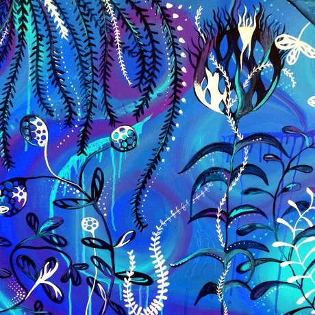 (CreativeWork) Sea garden by Jess Anderson. Acrylic Paint. Shop online at Bluethumb.