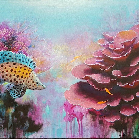 (CreativeWork) Pink corals by Eugene Rubuls. Acrylic Paint. Shop online at Bluethumb.