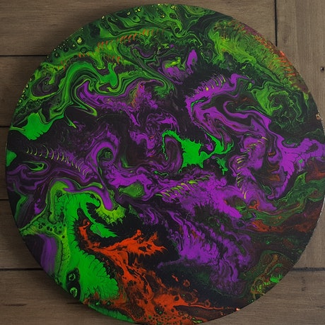 (CreativeWork) Circle of beasts by Sheryl Anderson. Acrylic Paint. Shop online at Bluethumb.