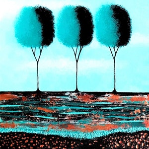 (CreativeWork) Teal Trees  no.3 Two Canvas Set Diptych (41cm x 102cm) by Lisa Frances Judd. arcylic-painting. Shop online at Bluethumb.