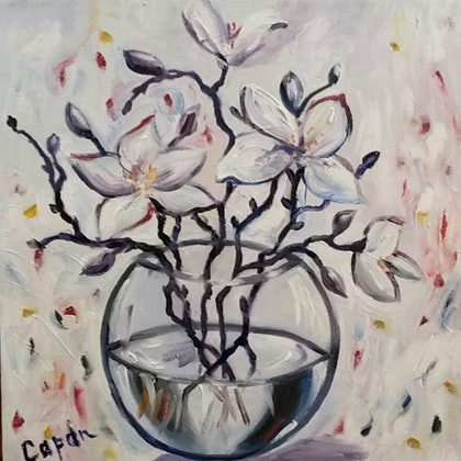 (CreativeWork) White Magnolia Round Vase by Susan Capan. oil-painting. Shop online at Bluethumb.