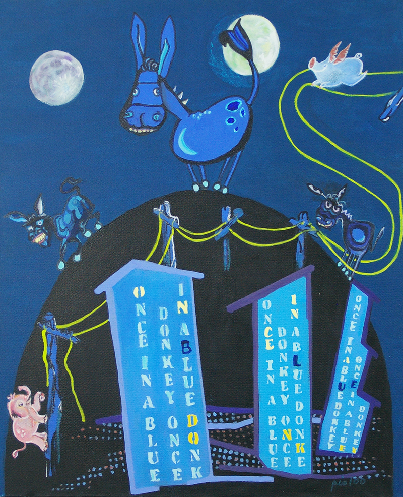 (CreativeWork) ONCE  IN  A  BLUE   DONKEY by Lesley Taylor. arcylic-painting. Shop online at Bluethumb.
