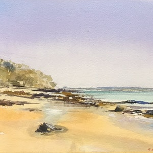 (CreativeWork) Tea Tree Bay , Noosa National Park, Queensland  by Geoff Stanistreet. watercolour. Shop online at Bluethumb.