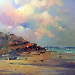 (CreativeWork) Private Beach  II by LI ZHOU. oil-painting. Shop online at Bluethumb.