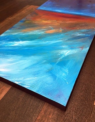 "(CreativeWork) ""Gold Over Blue"" by David Clare. Oil Paint. Shop online at Bluethumb."