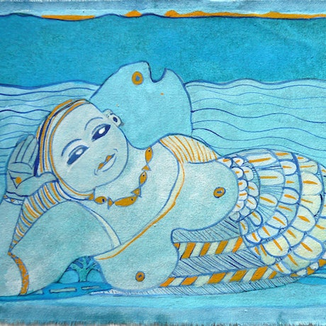 (CreativeWork) Blue Grace by Fern Smith. Watercolour Paint. Shop online at Bluethumb.