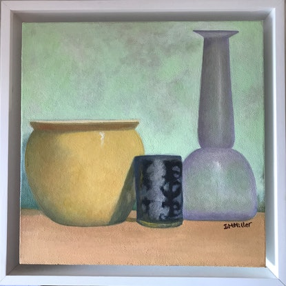 (CreativeWork) Still Life - Yellow Pot & Vase by Ishbel Morag Miller. Oil Paint. Shop online at Bluethumb.
