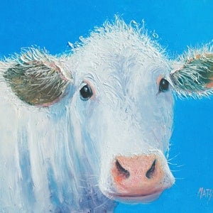 (CreativeWork) WHITE COW - FRAMED by Jan Matson. oil-painting. Shop online at Bluethumb.